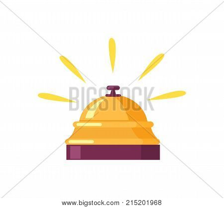 Tiny ringing golden bell for calling for waiter. Vector illustration of bell used for calling for service isolated on white background