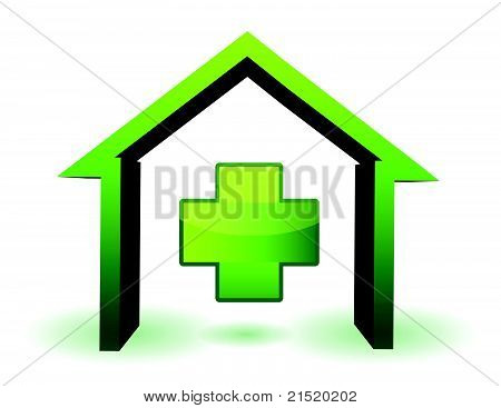 green health house and cross icon illustration design