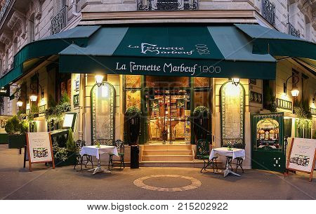 Paris, France-November 19, 2017 :The Fermette Marbeuf, a listed historical monument restaurant located near Champs Elysees avenue in Paris, France.