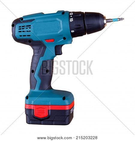 Modern cordless drill isolated on white background