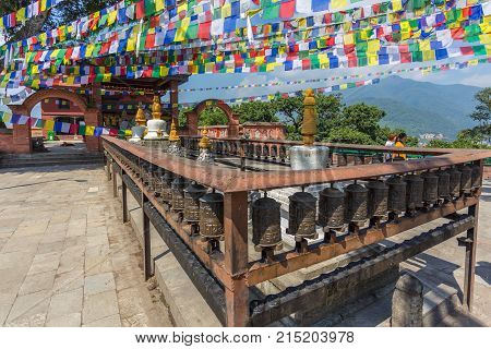 Kathmandu, Nepal - September 23, 2013: Swayambhunath Stupa, An Ancient Religious Architecture Atop A