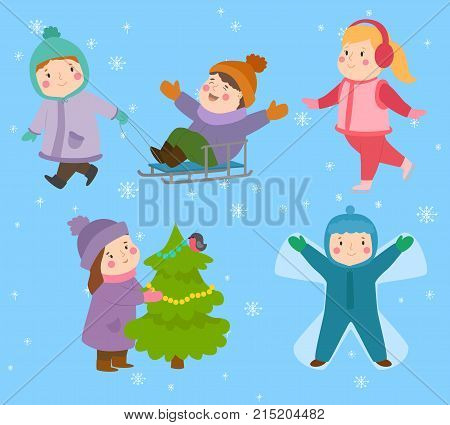 Kids winter Christmas game playground children playing sport games of kinds snowball, skating, winter kiddy holidays outdoor playtime
