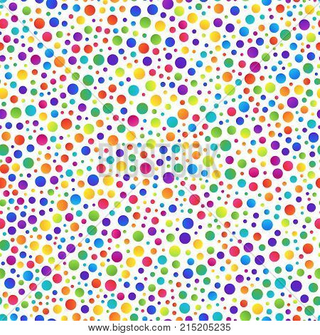Simple Seamless Pattern of Gradient Colorful Circles on White Backdrop. Geometric Continuous Background for Cloth Fabric Textile Tissue Pack Paper Wrapping Paper.