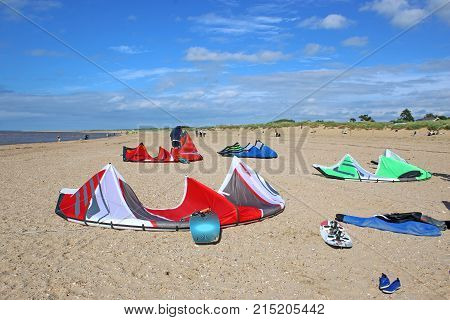 Power kites and board on Old Hunstanton Beach