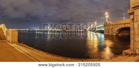 City landscape with the Neva River St. Petersburg