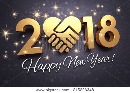 Greetings and New Year date 2018 composed with a golden heart glittering on a black background - 3D illustration