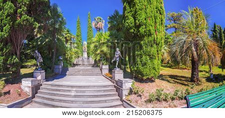 RUSSIA, SOCHI, AUGUST 30, 2015: The main central staircase in the Arboretum, Sochi, Russia on August 30, 2015.