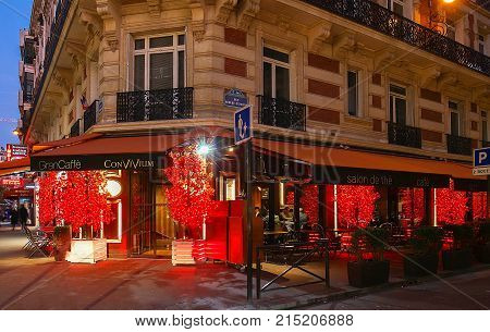 Paris, France-November 19, 2017 : The Convivium cafe decorated for Christmas located near Champs Elysees avenue in Paris, France.