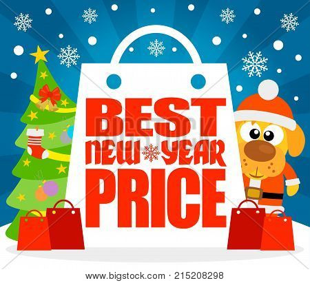 Best New Year Price card with dog in costume Santa.Vector illustration