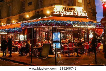 Paris, France-November 19, 2017 : The Grand Palais cafe decorated for Christmas located near Grand Palace in Paris, France.