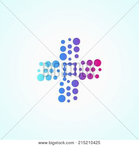 Letter P. Pharmacy colorful purple light logotype, store drugs bubbles icon, concept of pharmacist and chemist vector logo.