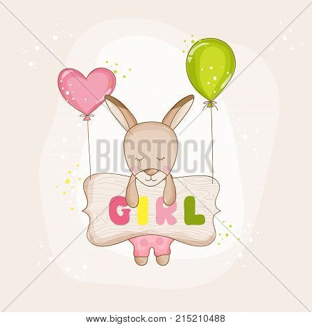 Baby Girl Kangaroo with Balloons - Baby Shower or Arrival Card - in vector
