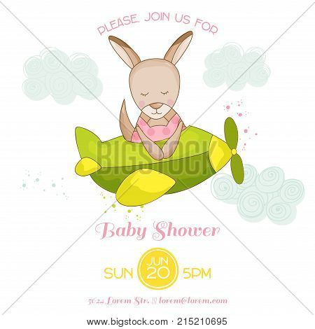 Baby Shower or Arrival Card - Baby Girl Kangaroo Flying on a Plane - in vector
