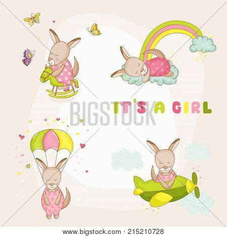 Baby Girl Kangaroo Set - Baby Shower or Arrival Card - in vector
