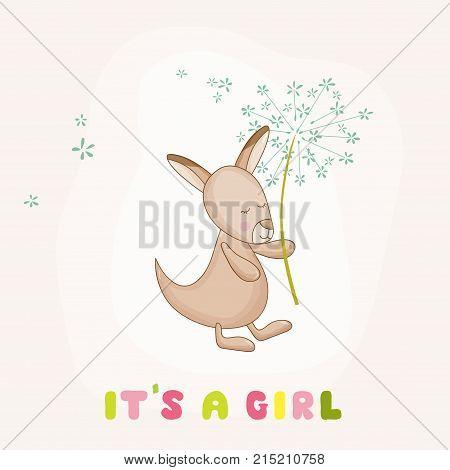 Baby Girl Kangaroo Holding Flower - Baby Shower or Arrival Card - in vector