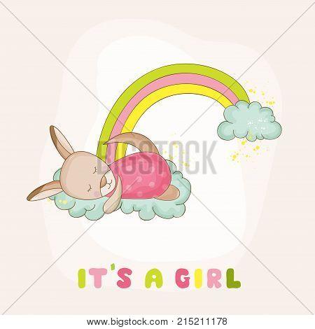 Baby Kangaroo Girl Sleeping on a Rainbow - Baby Shower or Arrival Card - in vector