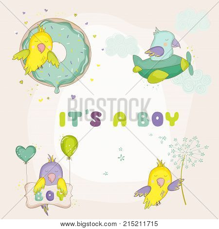 Newborn Cute Parrot Set for Baby Shower or Baby Arrival Cards in vector