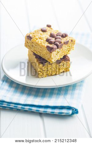 Oat protein bars on plate.