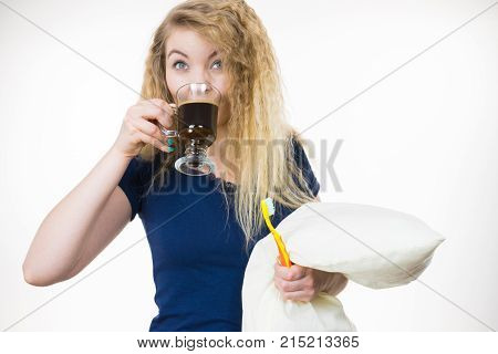 Funny Woman Being Late Drinking Coffee