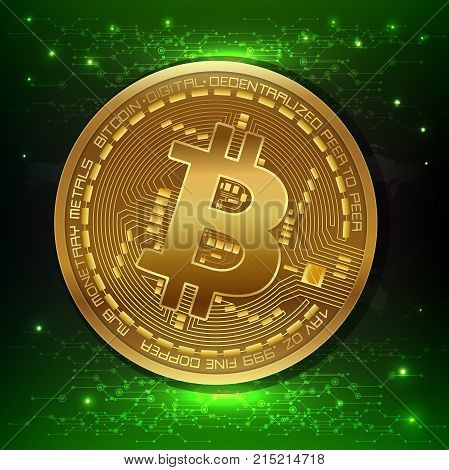 Golden bitcoin digital currency, internet money. Crypto currency symbol and coin image. vector illustration