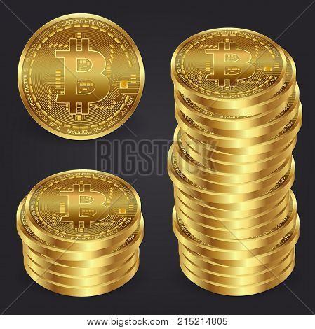 Golden bitcoin money. Realistic 3d golden bitcoin coin vector illustration for fintech net banking and blockchain concept.