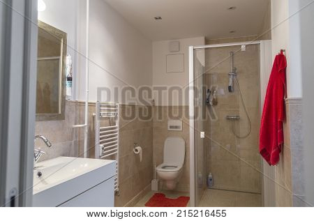 nice bathroom in a two-room apartment with a toilet