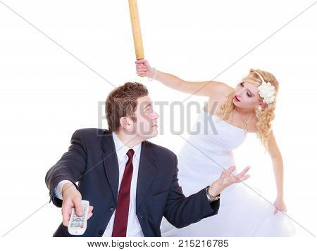 Groom And Bride Having Quarrel Argument