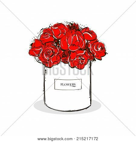Beautiful red flower white box vector hand drawn fashion sketch. Label with glamour vogue flower box. Isolated element on white background for design flower store. Fashion vector illustration.