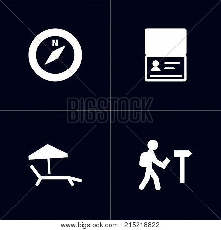 Collection Of Chaise Longue, Citizenship, Direction And Other Elements.  Set Of 4 Relax Icons Set.