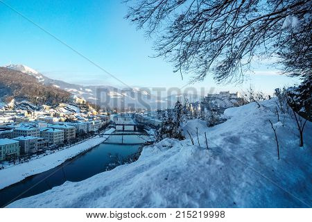 Panorama Salzburg With View On Fortress And Salzach In Winter, Austria