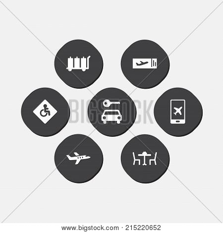 Collection Of Handicap, Ticket, Carriage Elements.  Set Of 7 Airplane Icons Set.