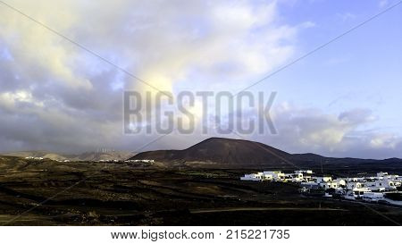 Los Cocoteros with vulcano - Guatiza, Lanzarote, Canary Islands, Spain