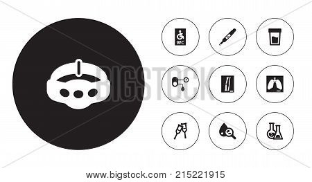 Collection Of Pregnancy, Slimming, Thorax And Other Elements.  Set Of 10 Medical Icons Set.