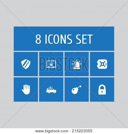Collection Of Notebook, Strongbox, Dynamite And Other Elements.  Set Of 8 Safety Icons Set.