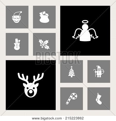 Collection Of Claus, Socks, Fir And Other Elements.  Set Of 10 Holiday Icons Set.
