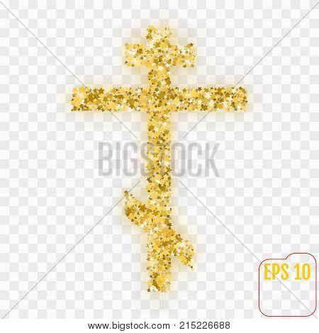 Gold Christian Cross. Gold Stars Confetti Christian Cross. Vecto
