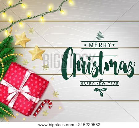 Christmas Decorative Greeting Poster in White Wooden Background with Christmas Lights, Gift, Snowflakes and Stars for Holiday Season. Vector Illustration