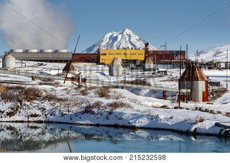KAMCHATKA PENINSULA RUSSIA - Oct 22 2017: Winter view on Mutnovskaya Geothermal Power Station (Mutnovskaya GeoPP-1) Geotherm JSC (PJSC RusHydro) using geothermal energy to produce electricity.