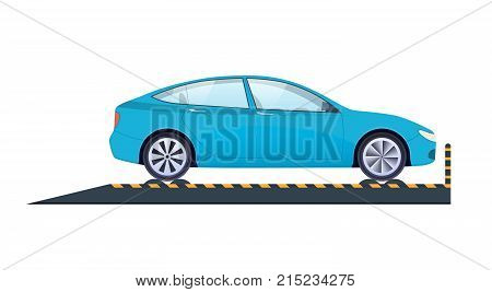 Car repair and service. Mechanic repairs, diagnostics car, equipment, auto service. Work in auto repair service. Carrying out crash test, car diagnostics, technical inspection. Vector illustration.