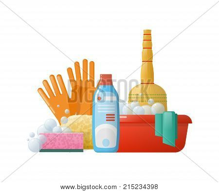 Set of cleaning supplies tools accessories: buckets, tools, brushes, basins, gloves, sponges. Household, cleaning up debris and dust, cleaning floors. Harvesting in office room Vector illustration