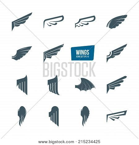 Set of different wings logo set. Logotype, design elements, icons wing flying, emblems feather wing bird and angel. Vector illustration editable stroke.