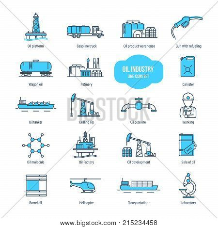 Oil industry thin line icons, pictogram and symbol set. Icons for gas station, oil factory, tanker, transportation, buildings, warehouse, development, drilling rig. Illustration editable stroke