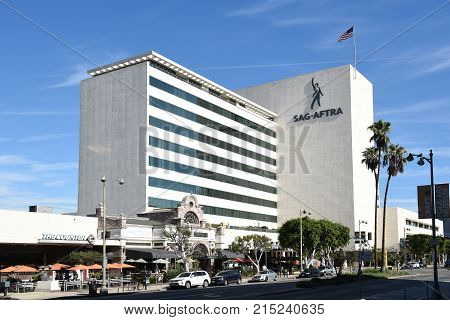 LOS ANGELES - NOV 24 2017: The SAG-AFTRA building. The labor union represents about 160000 film and television actors journalists radio personalities recording artists singers voice actors and other media professionals labor