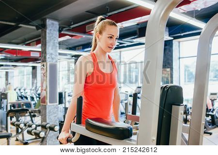 Sport gym healthy women powerful concept. Daily self-improvement. Strength of will.