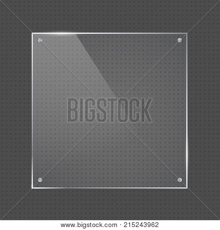 Vector realistic square glossy shape glass frame with small silver nails on transparent background. Glass element for banner design advertising web