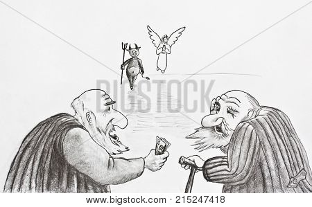 Pencil drawing. Two old people bet on the devil or angel