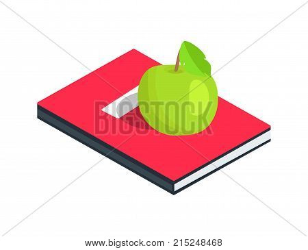 Red diary with place for name and surname with apple on it vector illustration isolated on white. Textbook in hardcover, encyclopedia material with healthy snack