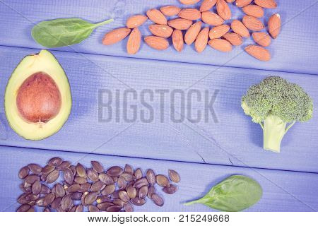 Vintage Photo, Healthy Food Containing Omega 3 Acids, Natural Minerals And Fiber, Copy Space For Tex
