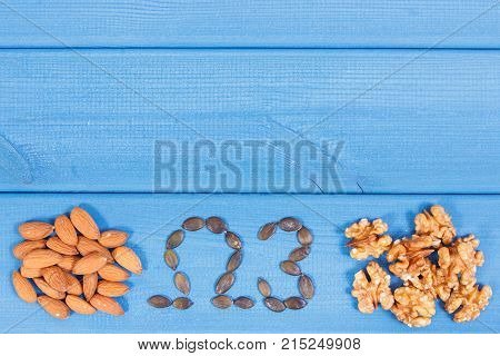 Food Containing Omega 3 Acids, Minerals And Dietary Fiber, Acid Diet Concept, Copy Space For Text