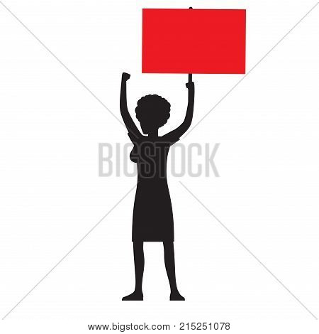 Woman black silhouette striking with red streamer raises her hand and shows protest isolated vector illustration on white background.